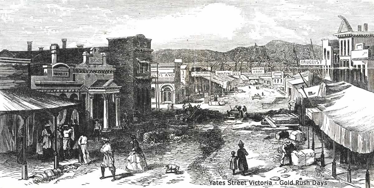 Yates Street in Victoria during the Gold Rush days