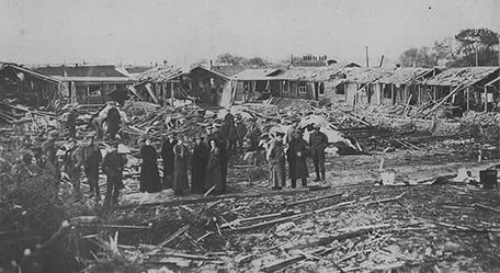 Nurses quarters bombed in France 1918